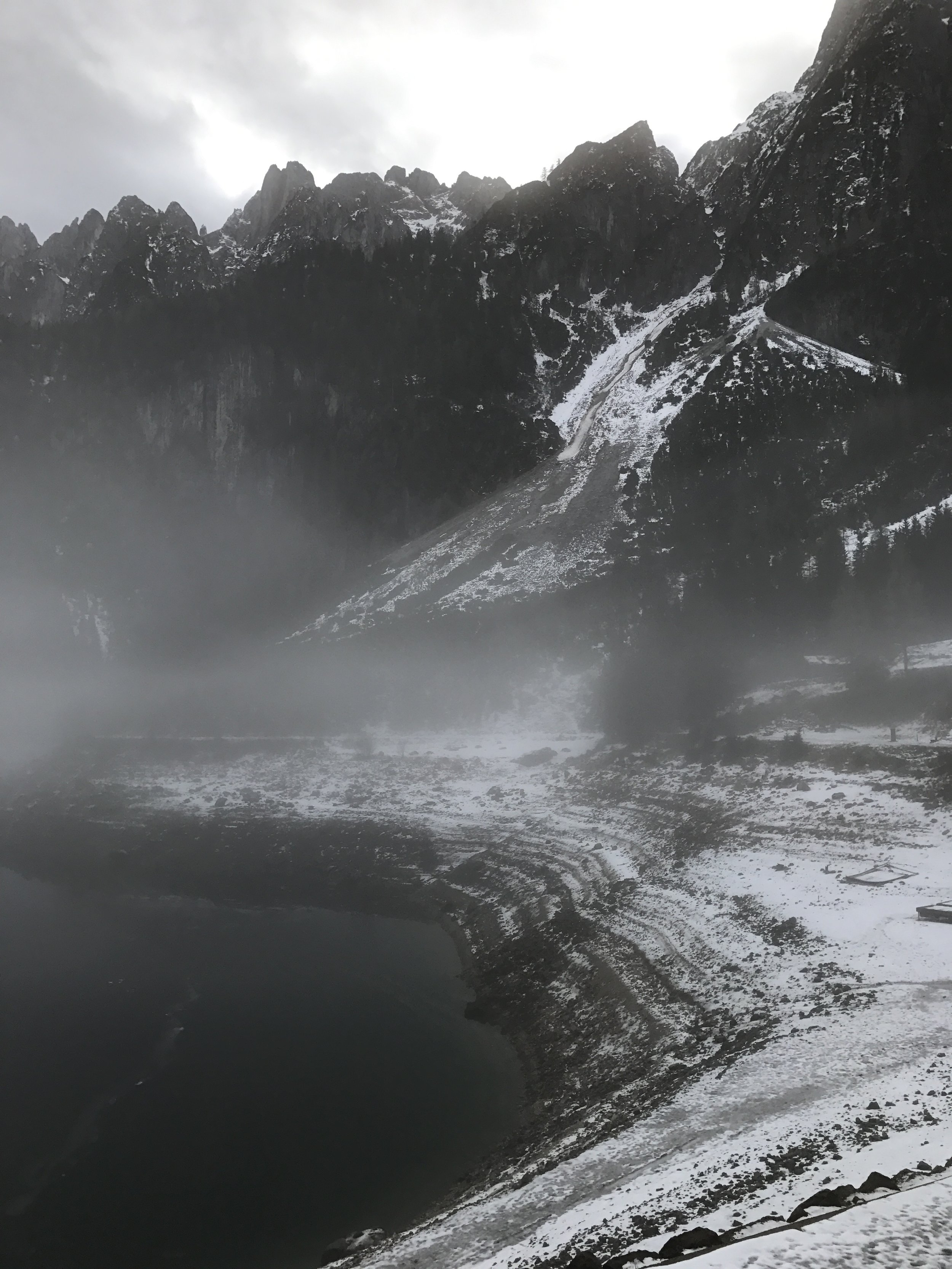 After our visit to Hallstatt we drove off to see some glaciers from this area near the alps. Pretty stunning area even though we ended up not seeing glaciers bc of low visibility.
