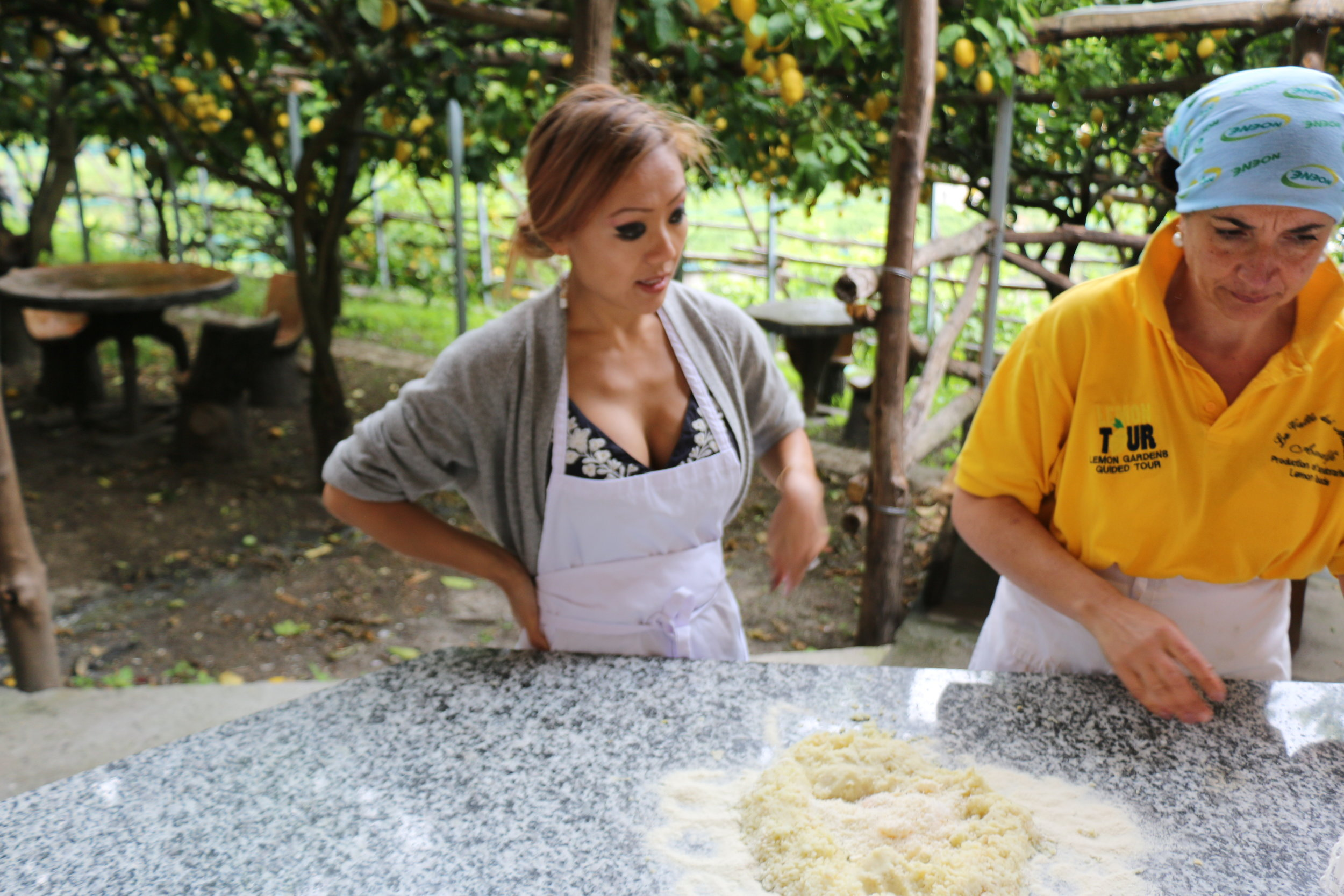 Setup for our 3rd dish: Fresh Gnocchi with of course lemon zest and juice