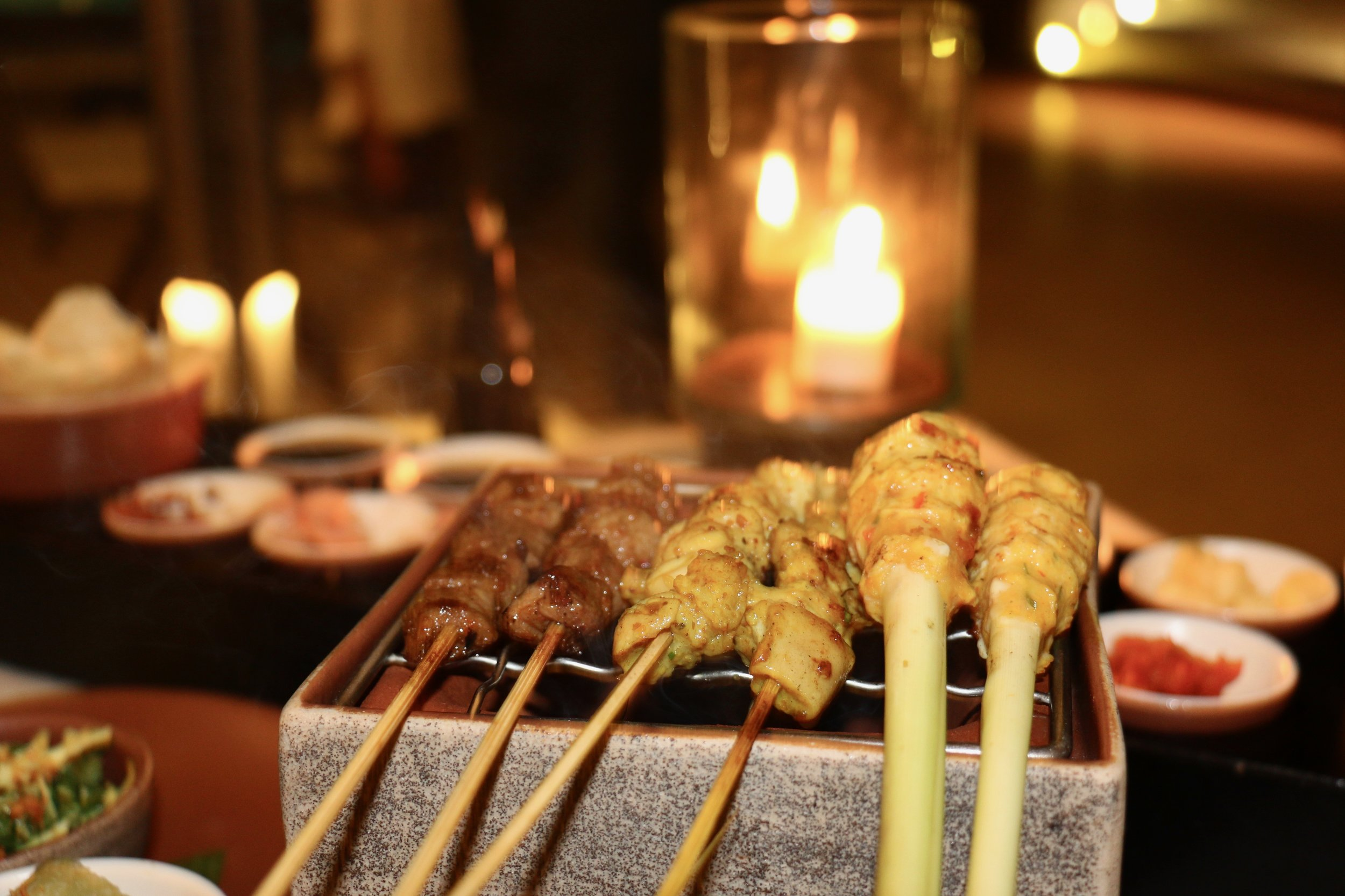 Started with the famous satays, beef, chicken breast ,and ground chicken.