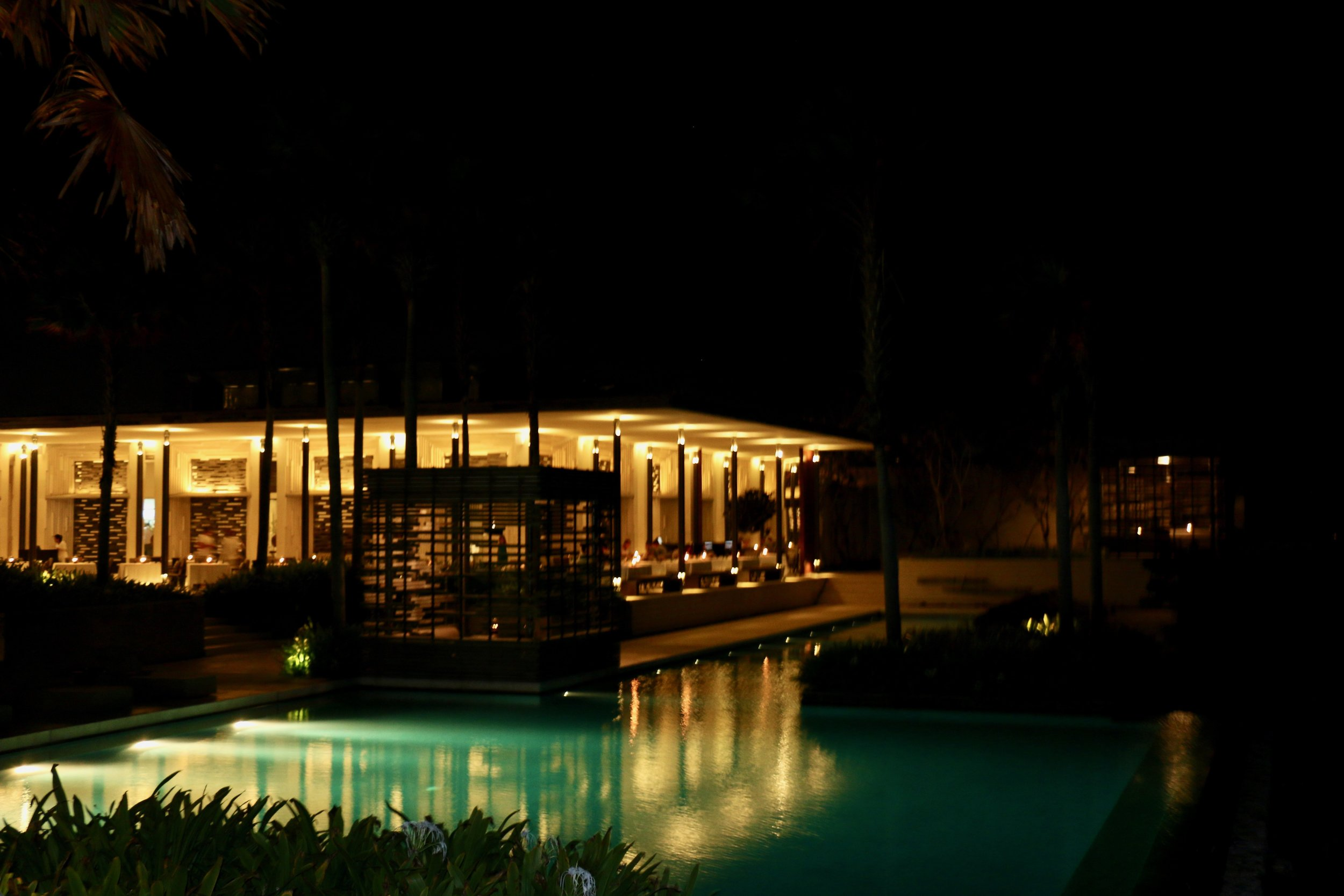 A view of Warung Restaurant from the pool at Alila Villa Uluwatu. Note the outdoor area of the restaurant wraps around the building and in my opinion are the better seats.