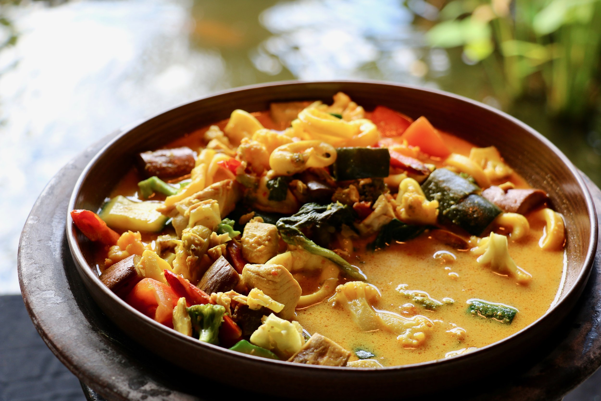 One of their local dishes: chicken curry