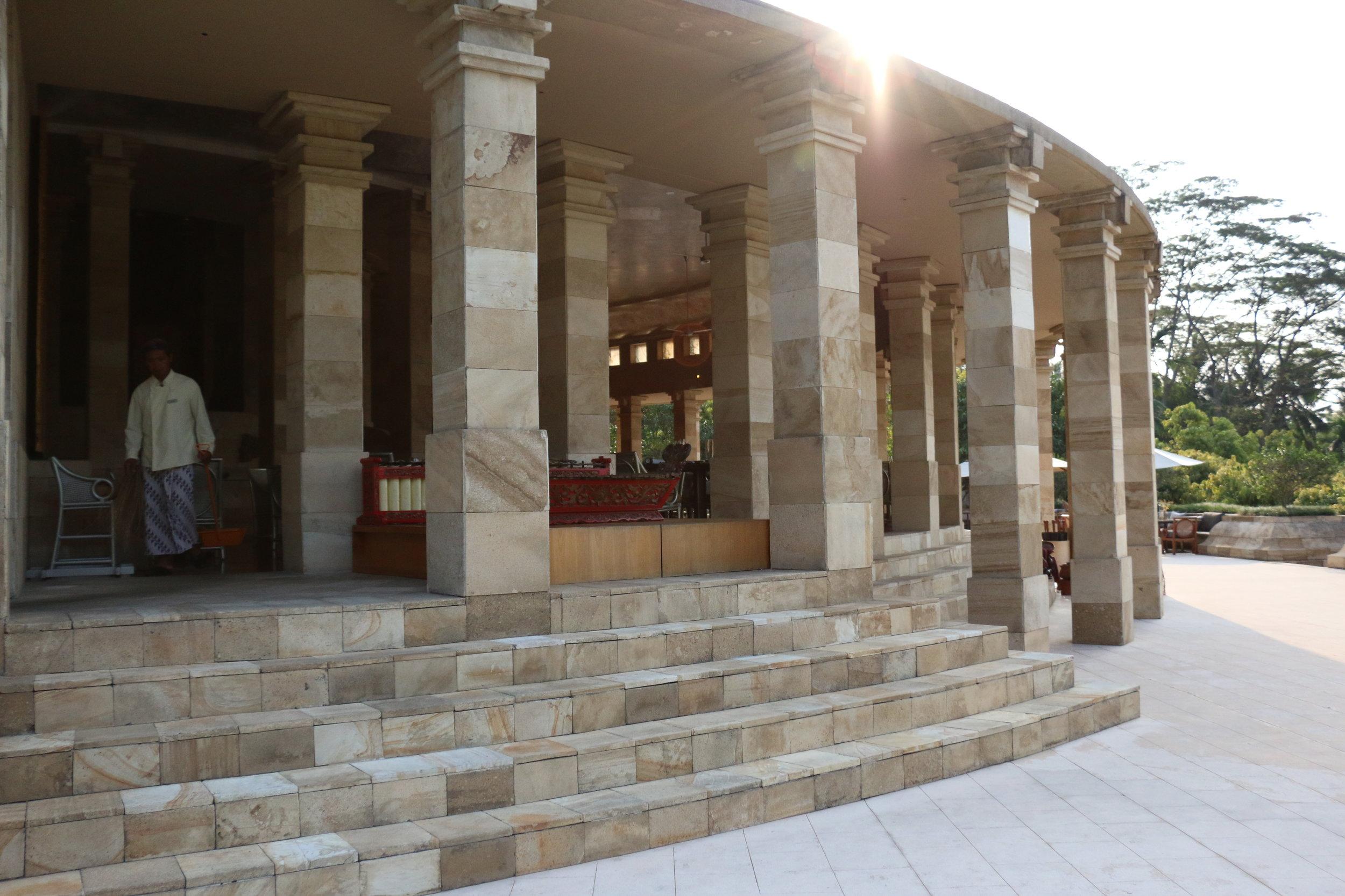 Walk up to the dining room atrium through the stunning pillars
