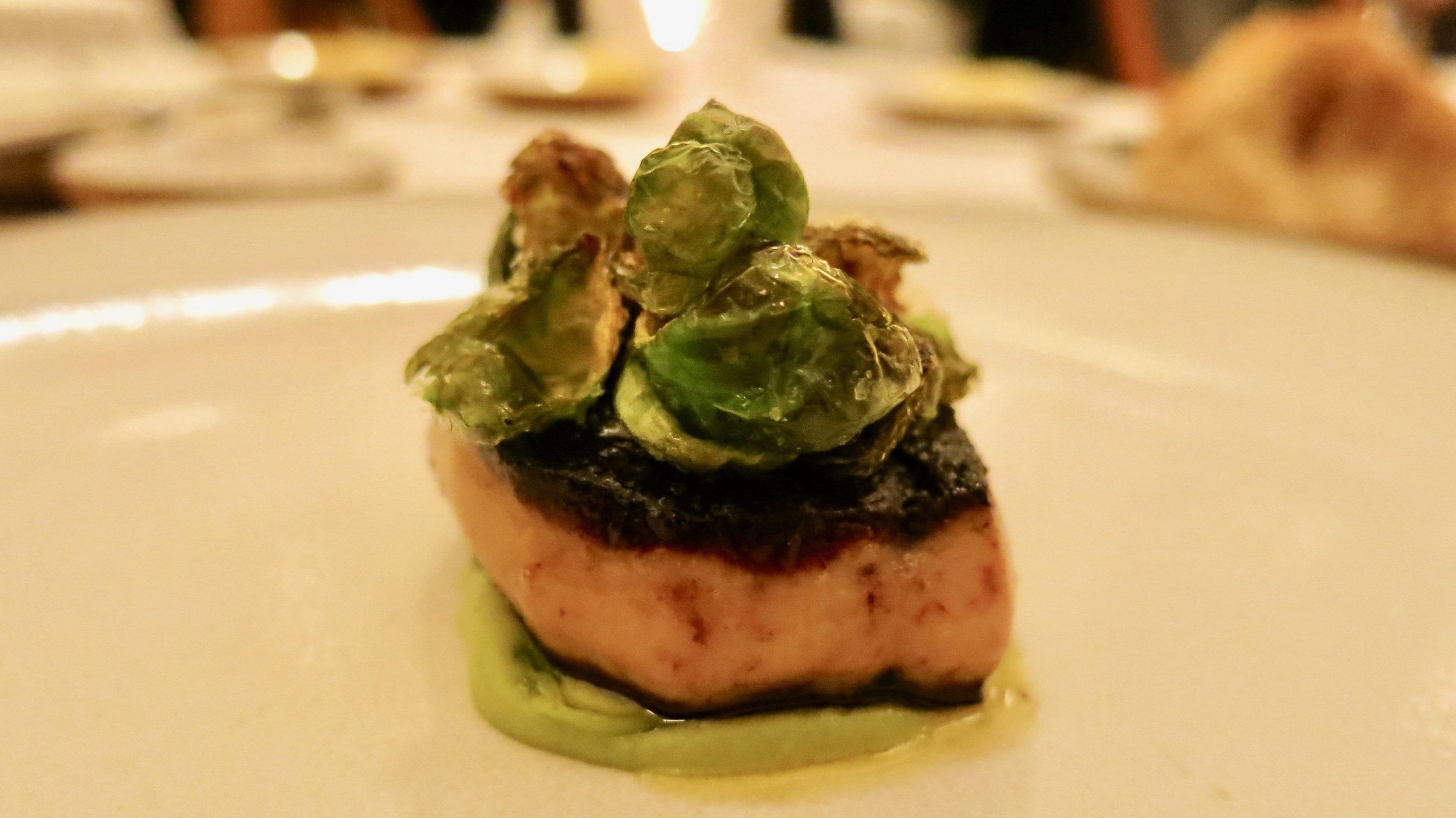 6th Course - Foie Gras: Served with Smoked Eel and Brussels Sprouts (Outstanding Dish)