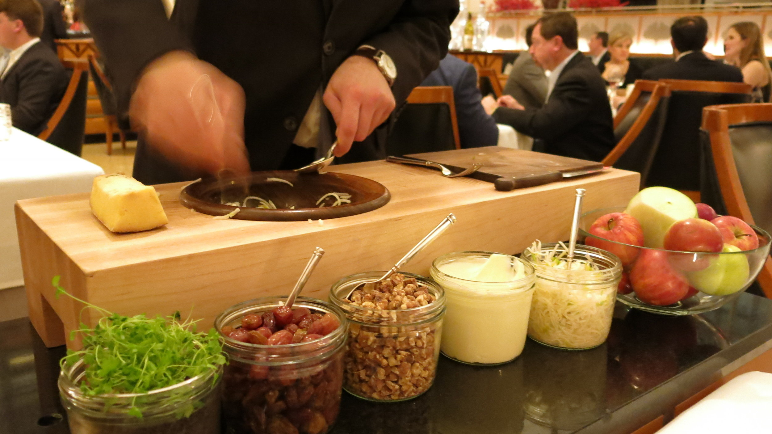 Prepping the Waldorf Salad tableside