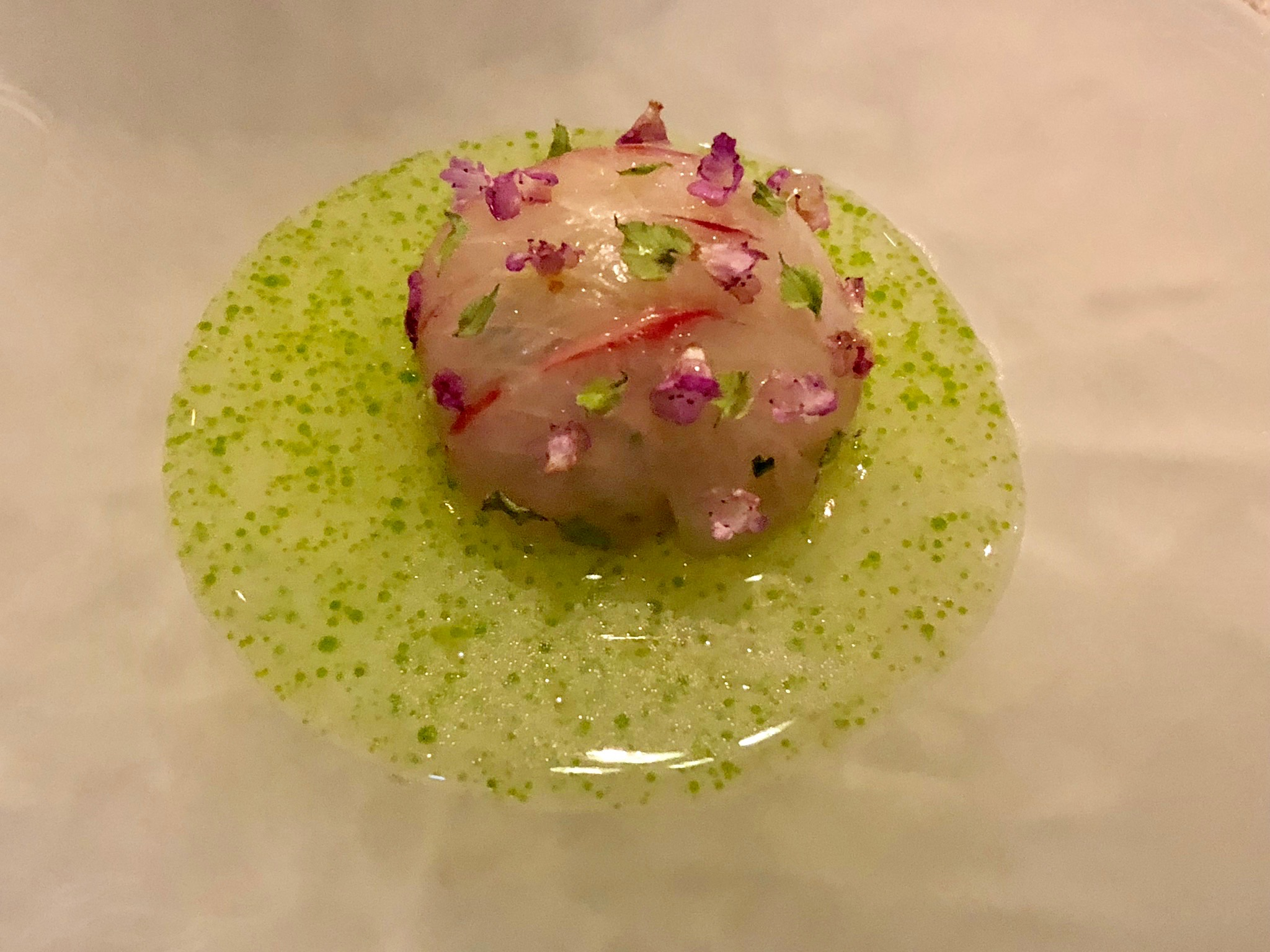 Second Course: Shima Aji, longan, lemon balm, young ginger