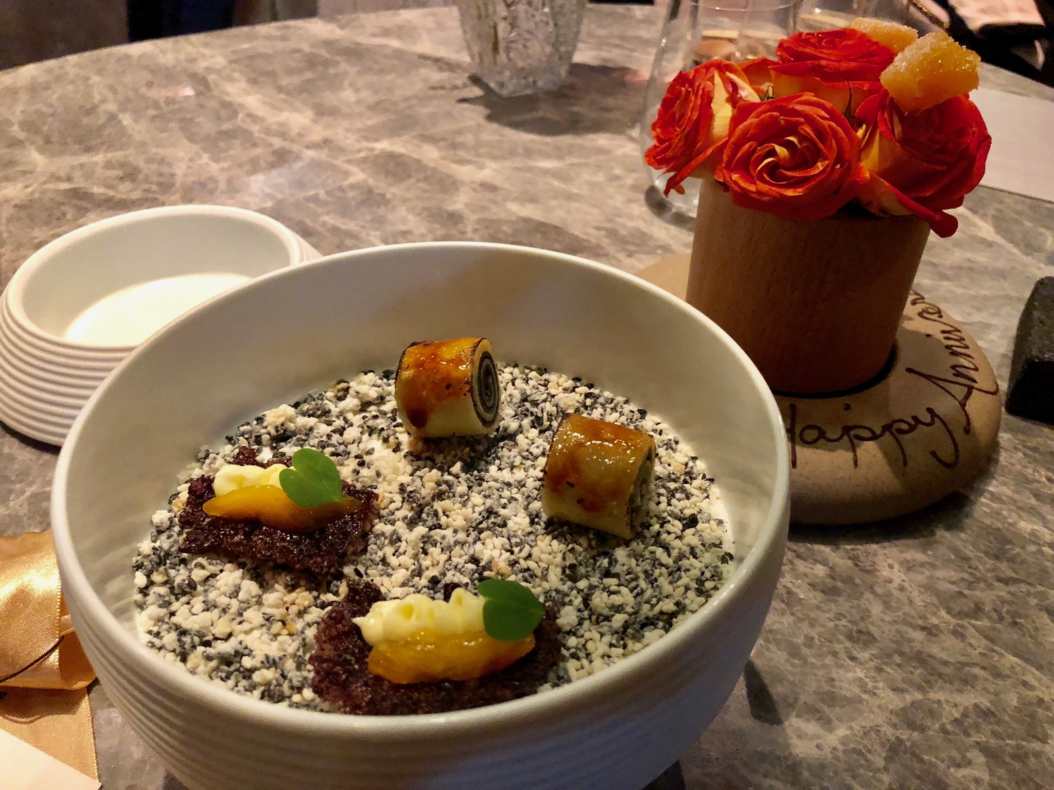 Sesame Mille Crepe: Pretty to look at but taste wise was nothing memorable.Black Rice & Persimmon Crisp: Good but much rather have another round of the mocha or the strawberry dessert