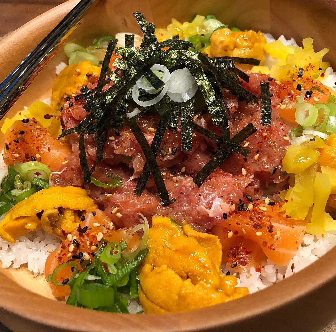 Uni, Salmon, Negi Toro Bowl