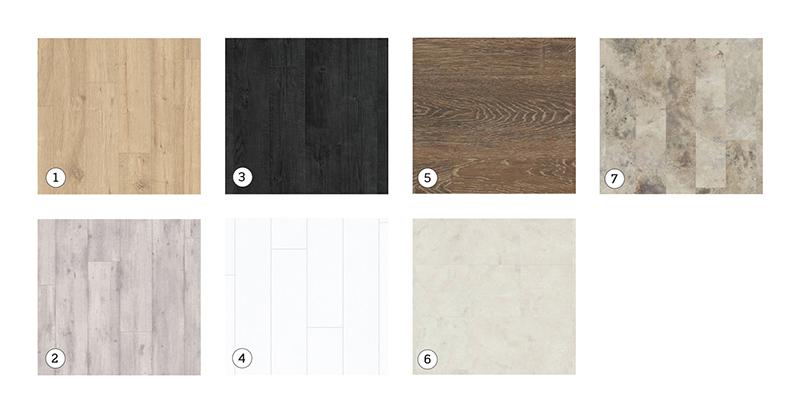 Quick-Step's Impressive laminate flooring range: 1. Sandblasted Oak Natural; 2. Concrete Wood Light Grey; 3. Burned Planks; 4. Burned Planks White. Karndean vinyl range: 5. Oak Premier 'Dusk Oak'; 6. Marble 'Fiore'; 7. Travertine 'Gallatin'.  All flooring shown is available from Hubbers Furnishings and Flooring.