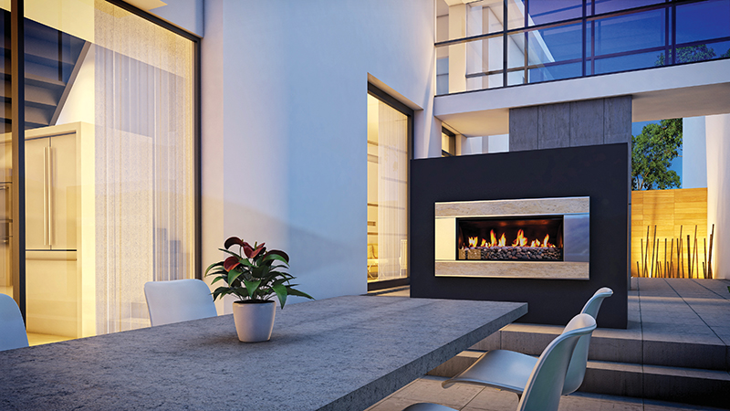 Escea's EF5000 Outdoor Gas Fireplace takes indoor comforts outside.