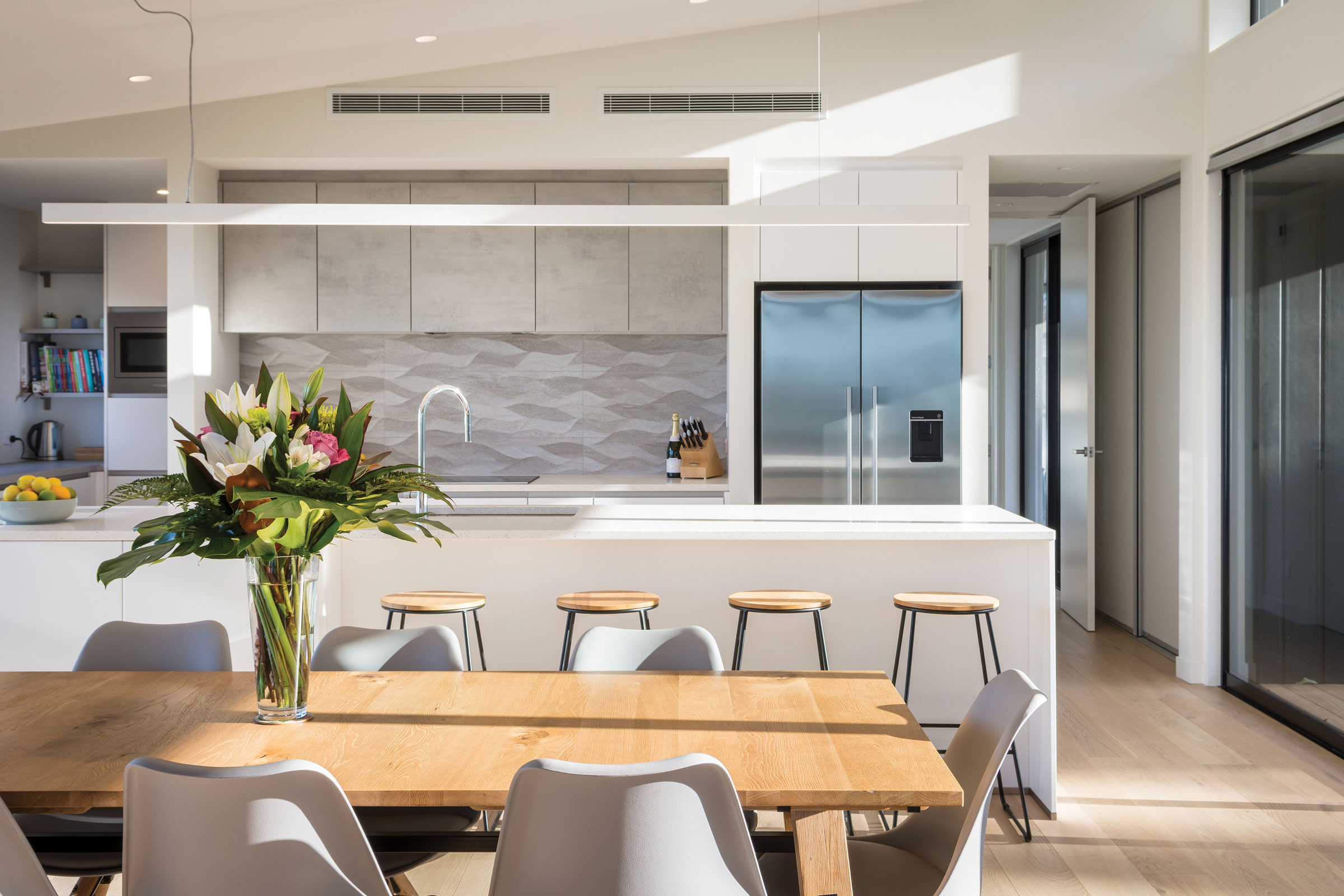 SPLASHBACK  Brymac Tiles supplied the 3D textured kitchen wall tiles, Ona Natural.