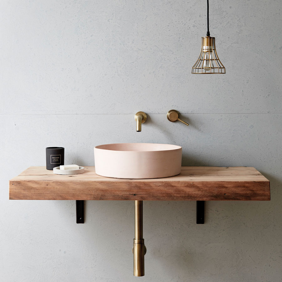 Concrete Nation Halo Vessel Basin in Dusty Pink