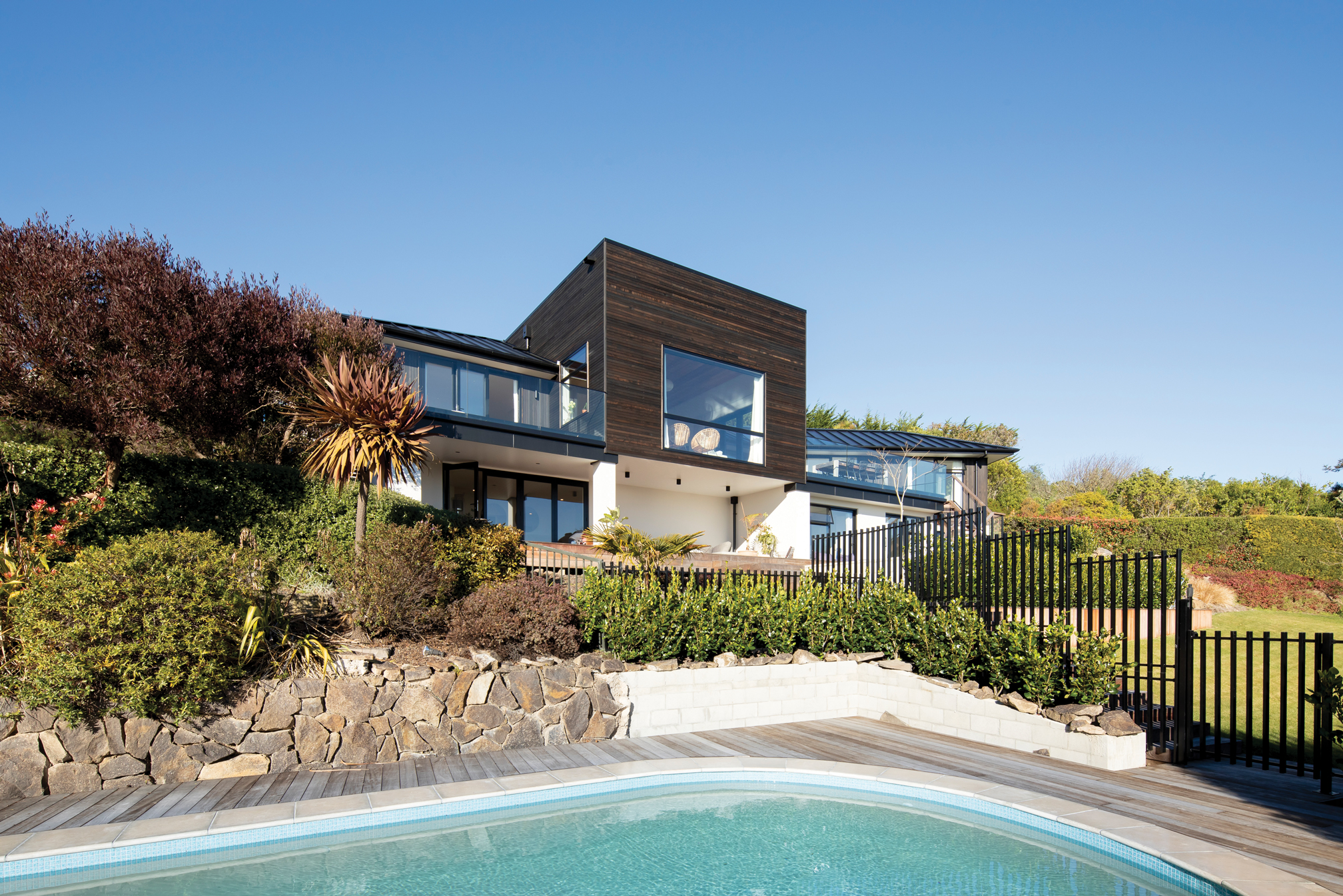 Exterior  This hillside 1960s home looks as good as new after its extensive renovation by Brad Richards Building.