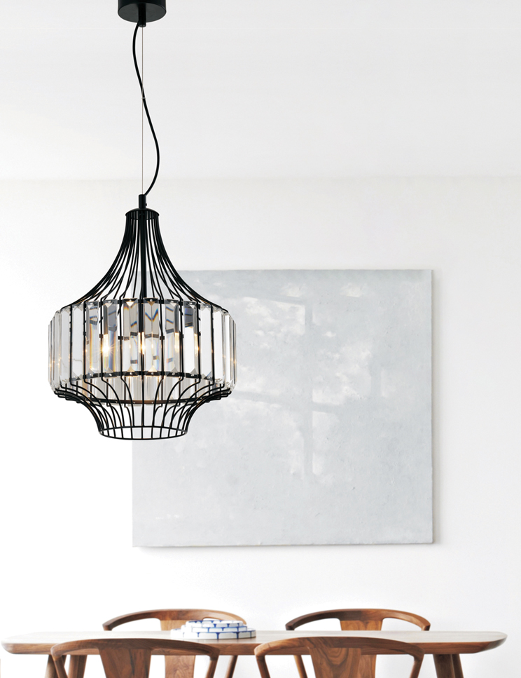 Alice:  A stunning bevelled glass and metal dining room pendant.