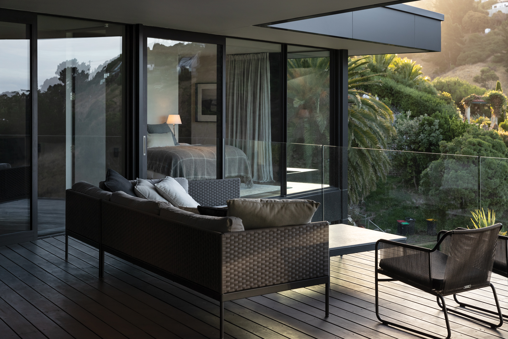 Outdoor Living:  A glass balustrade on the sheltered decking provides for uninterrupted views from Sumner Beach to as far as the Kaikōura Ranges.