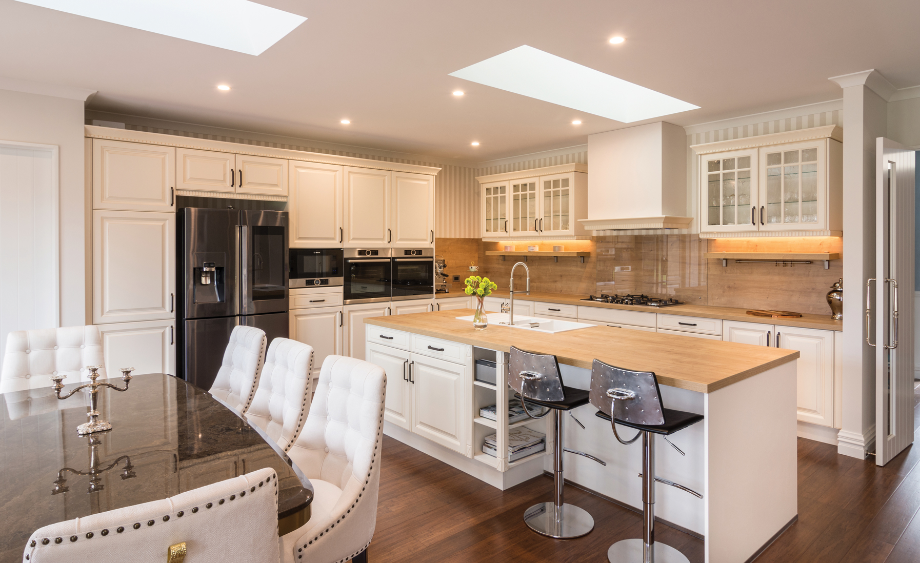 KITCHEN:  Palazzo Kitchens designed and installed the country classic kitchen complete with large kitchen island.