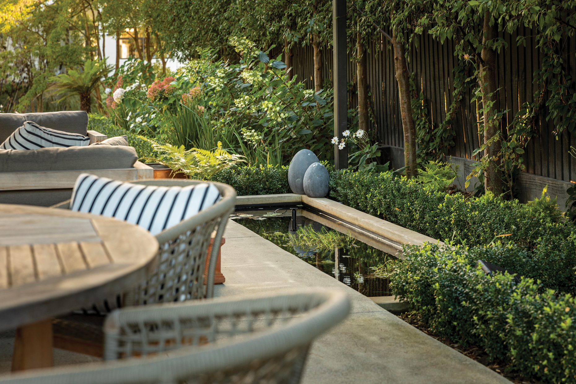 A tranquil setting offering privacy and dappled light to enjoy your favourite pastime.