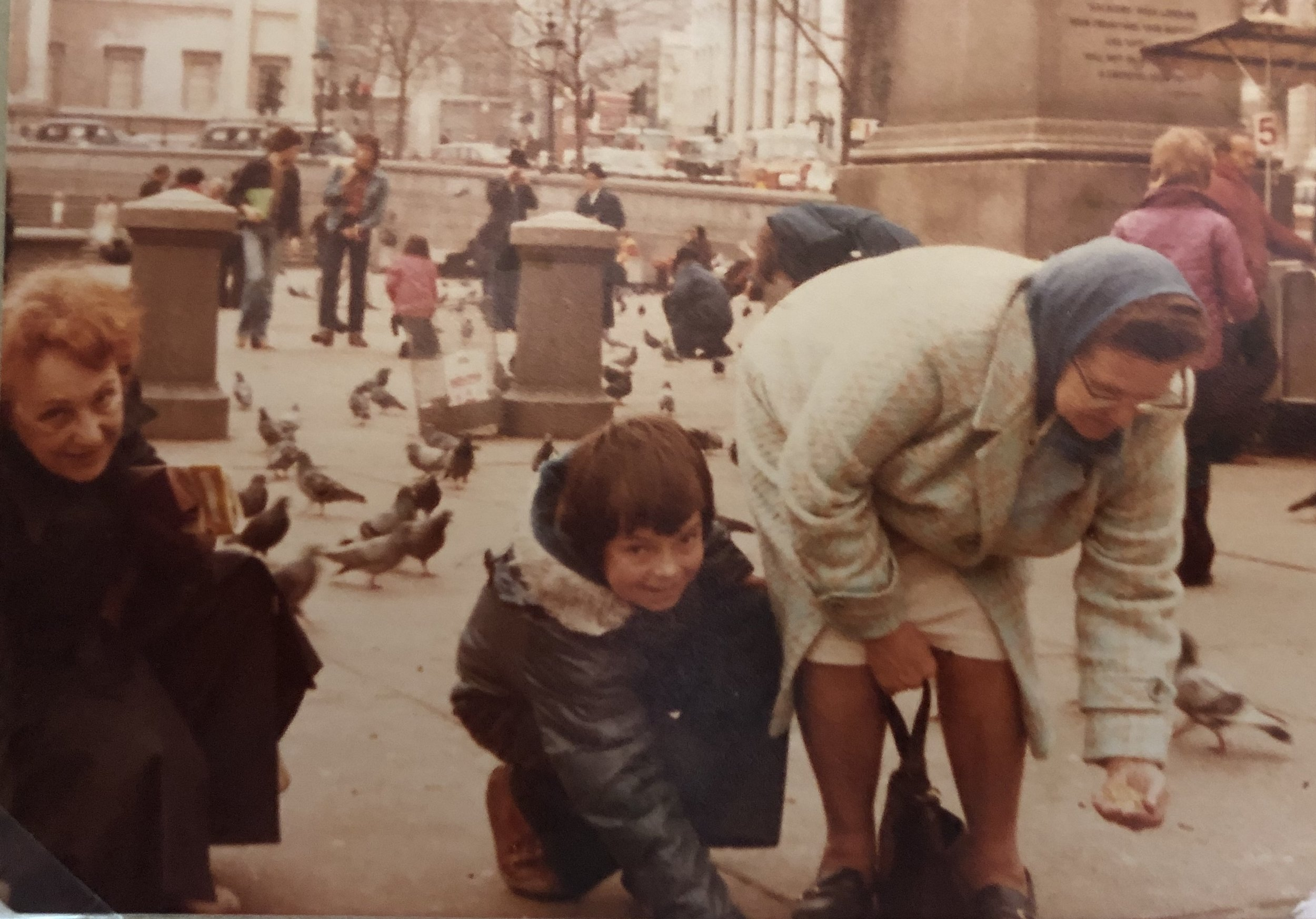 """A few years after my first visit to London. My grandmother is on the left and I'm next to my Aunt Elsie, doing the then tourist """"must do"""" pigeon feeding (I don't think its allowed now)"""