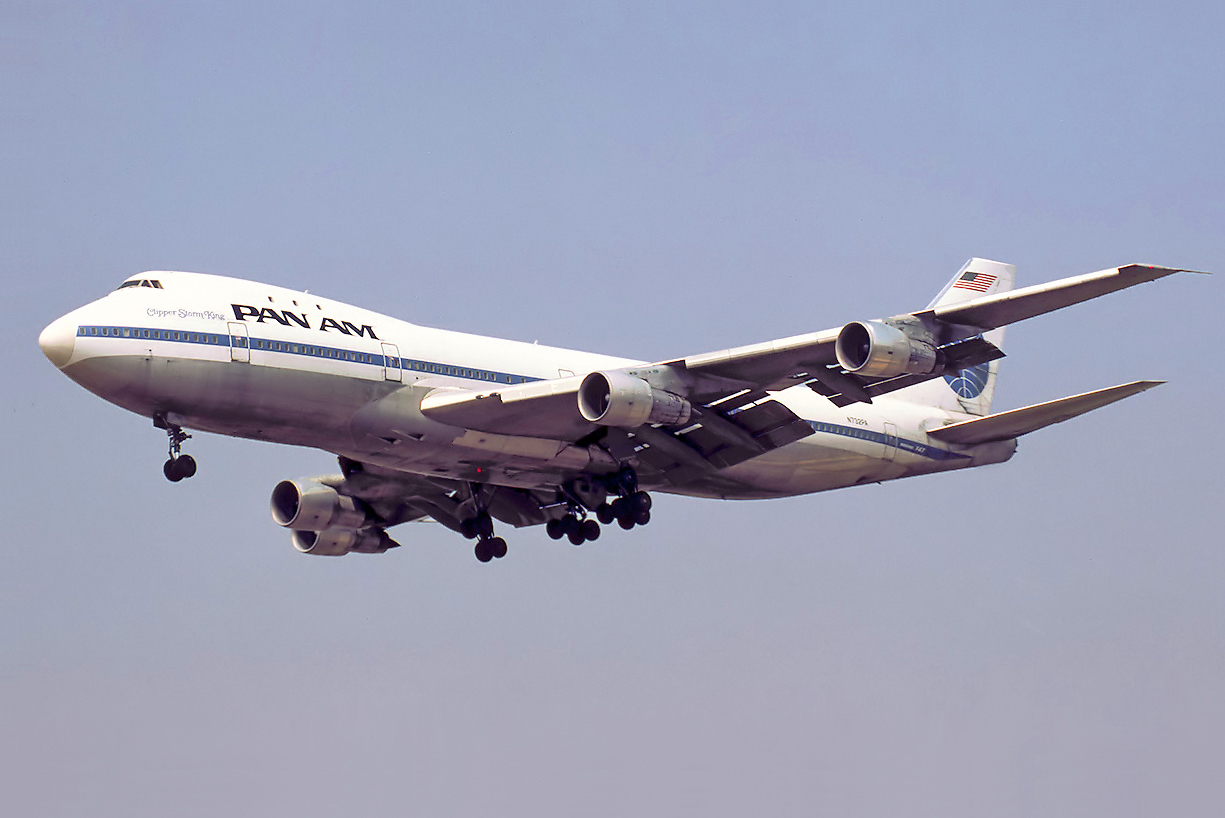 Flying with Pan Am we made our way across the Atlantic at the start of our adventure.  Image:  https://commons.wikimedia.org/wiki/File:Pan_Am_Boeing_747-121_N732PA_Bidini.jpg