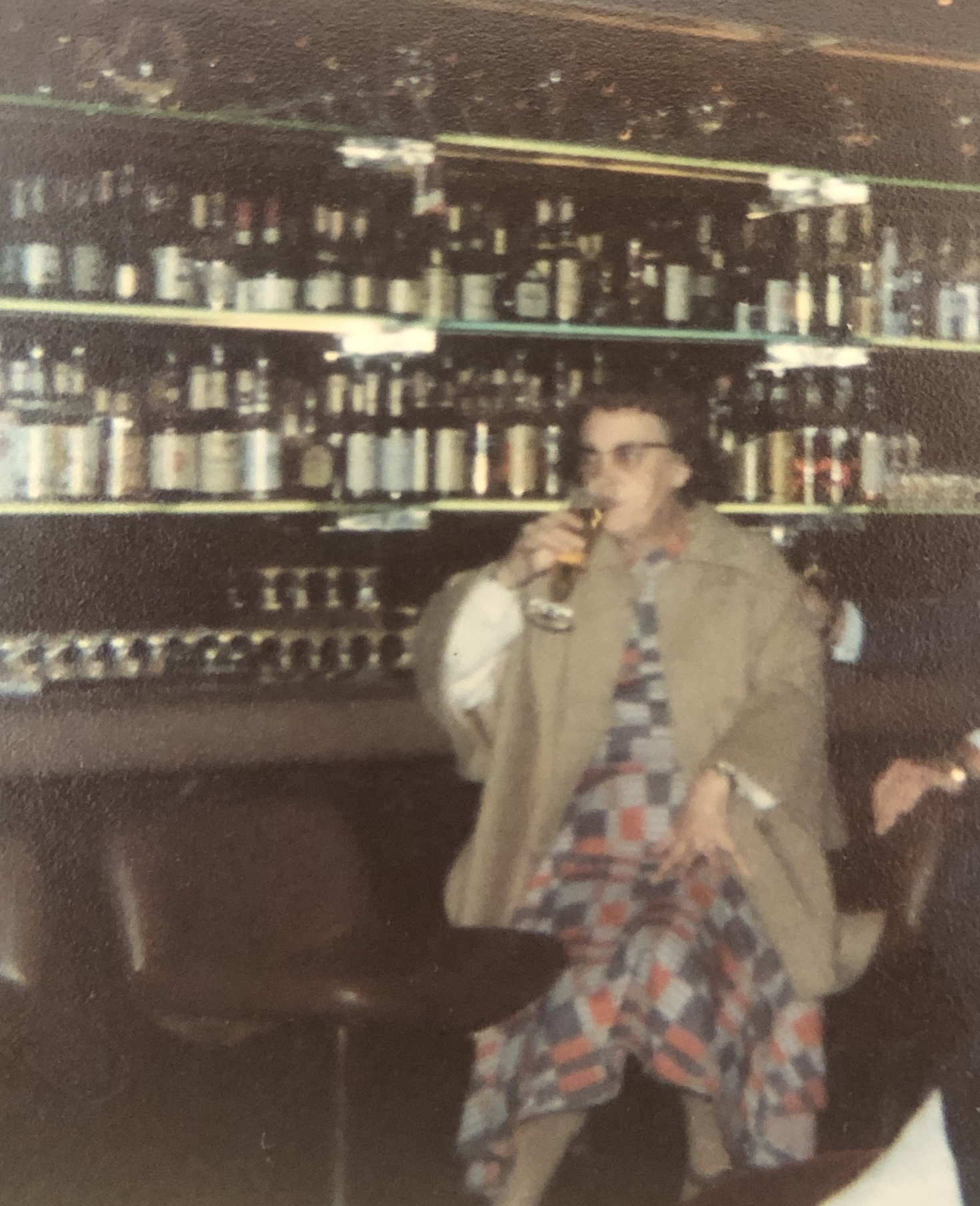 Gran enjoying a drink in the bar at the UN.