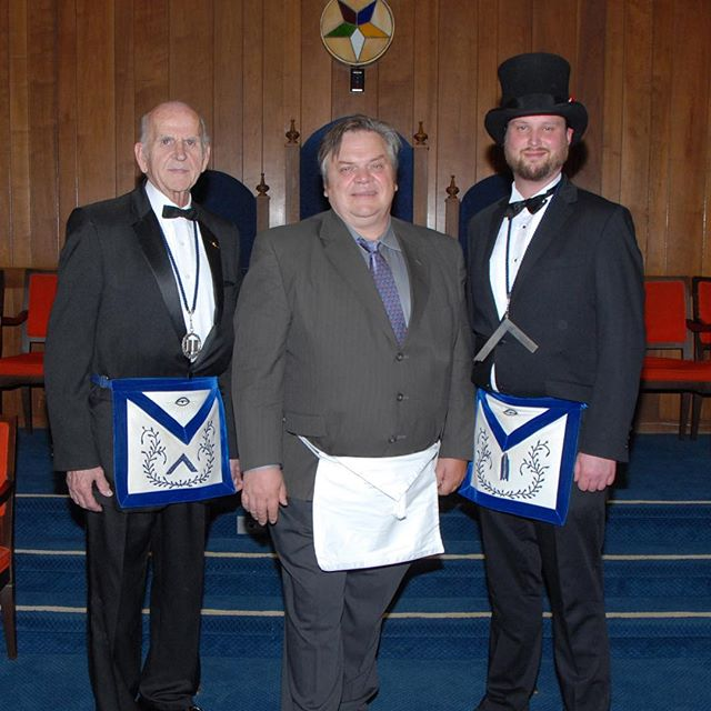 Our newest member and brother, Yuri, with Worshipful Master Hank and Junior Warden Michael