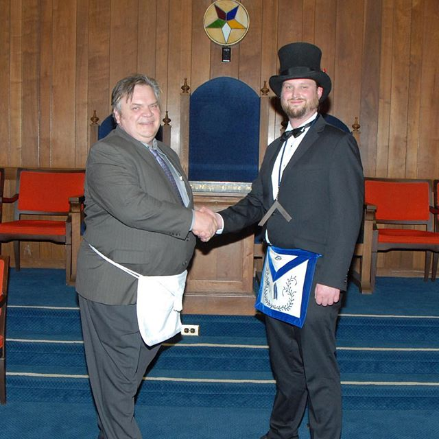 Our newest member and brother, Yuri, with Br. Michael (as Master of the lodge for the evening)