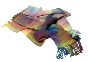 Shetland wool shawl hand dyed with acid dyes and hand woven by Jo Aylwin