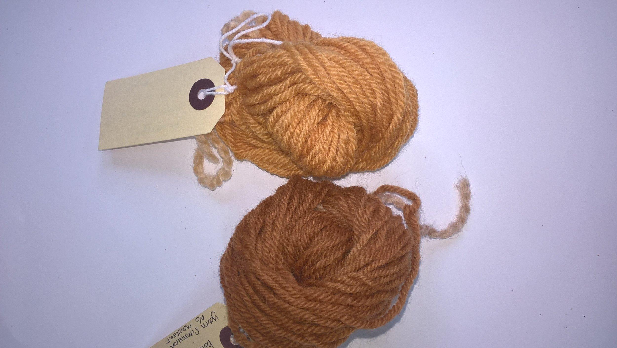 onion skin dye top and walnut dye bottom