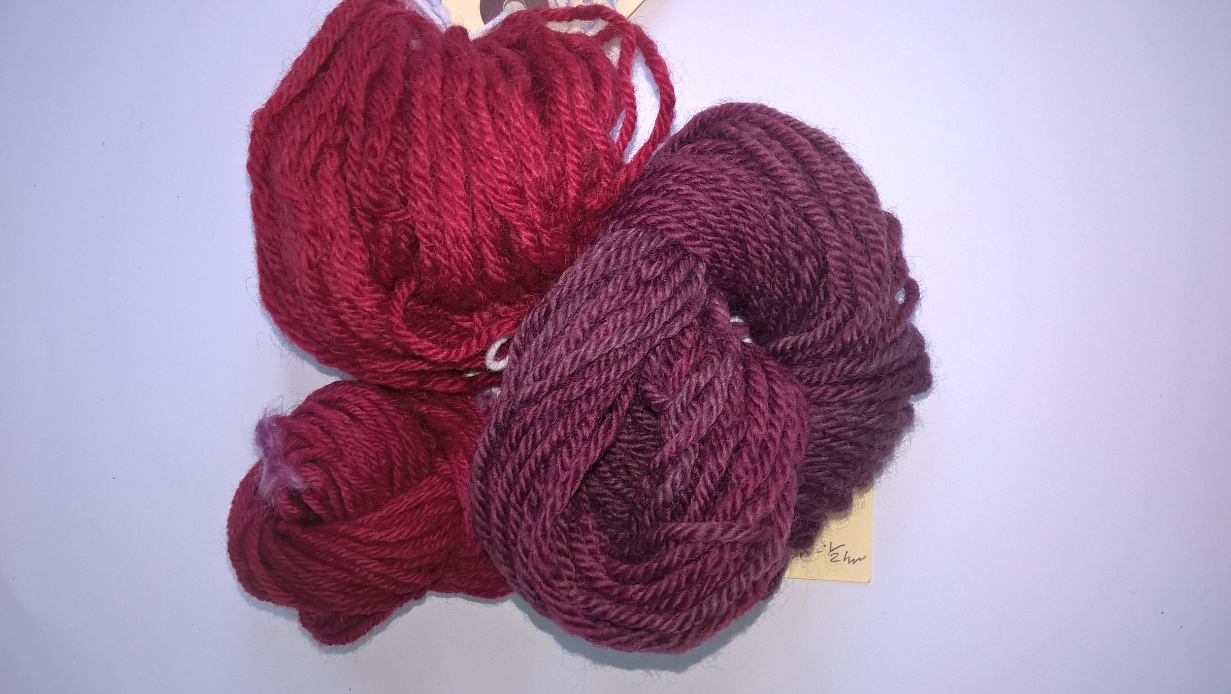 yarn dyed with madder, with three mordents