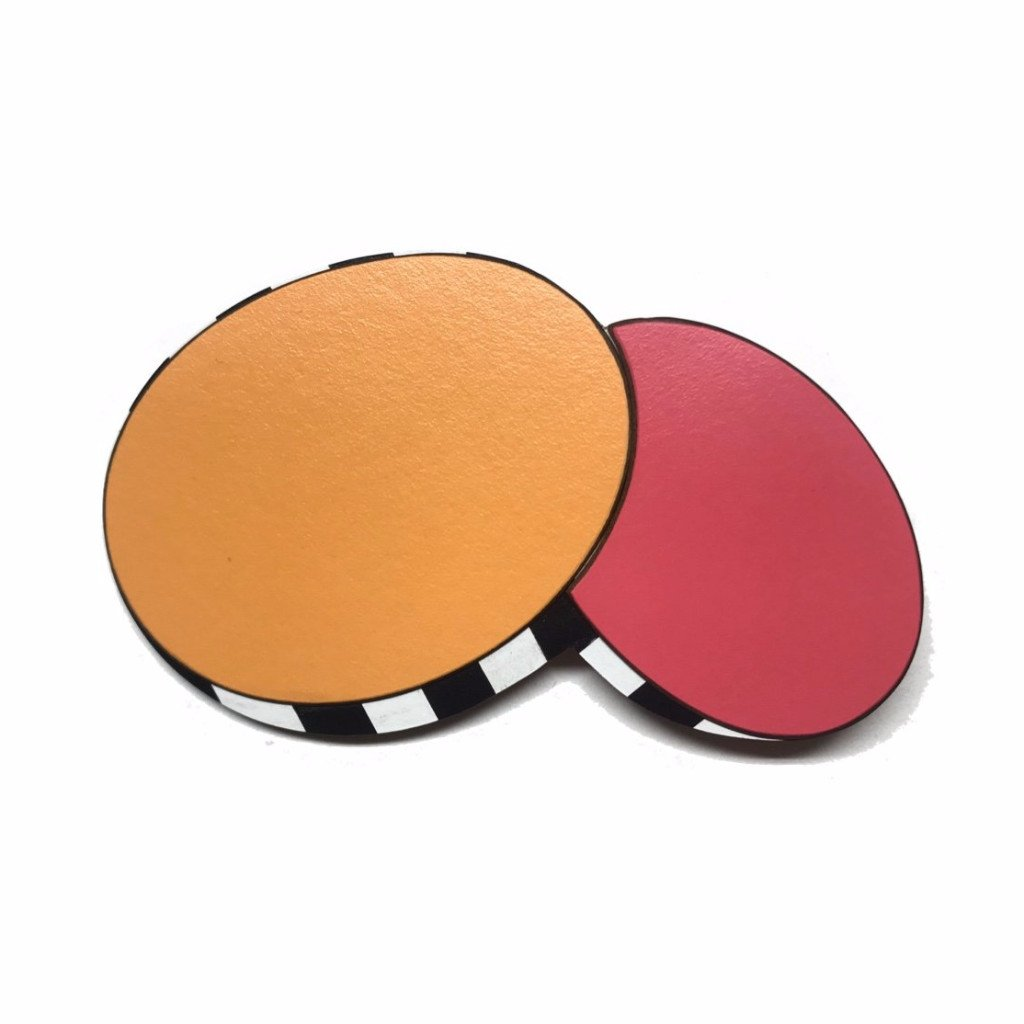 Linda Hughes,  Drum Brooch Orange/Pink