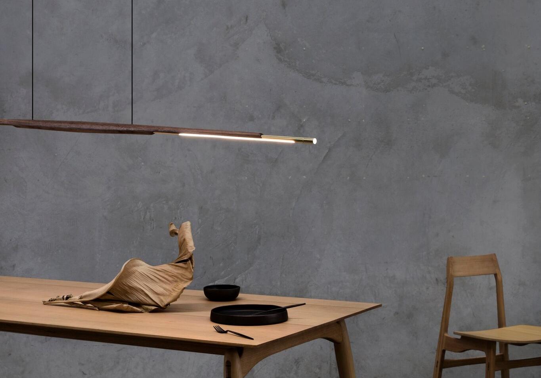 Adam Markowitz,  Assegai Pendant ,  Fred table,  and  Flea chair . Photo: Ben Clement. Styling: Tamara Maynes. Ceramics: Cone11