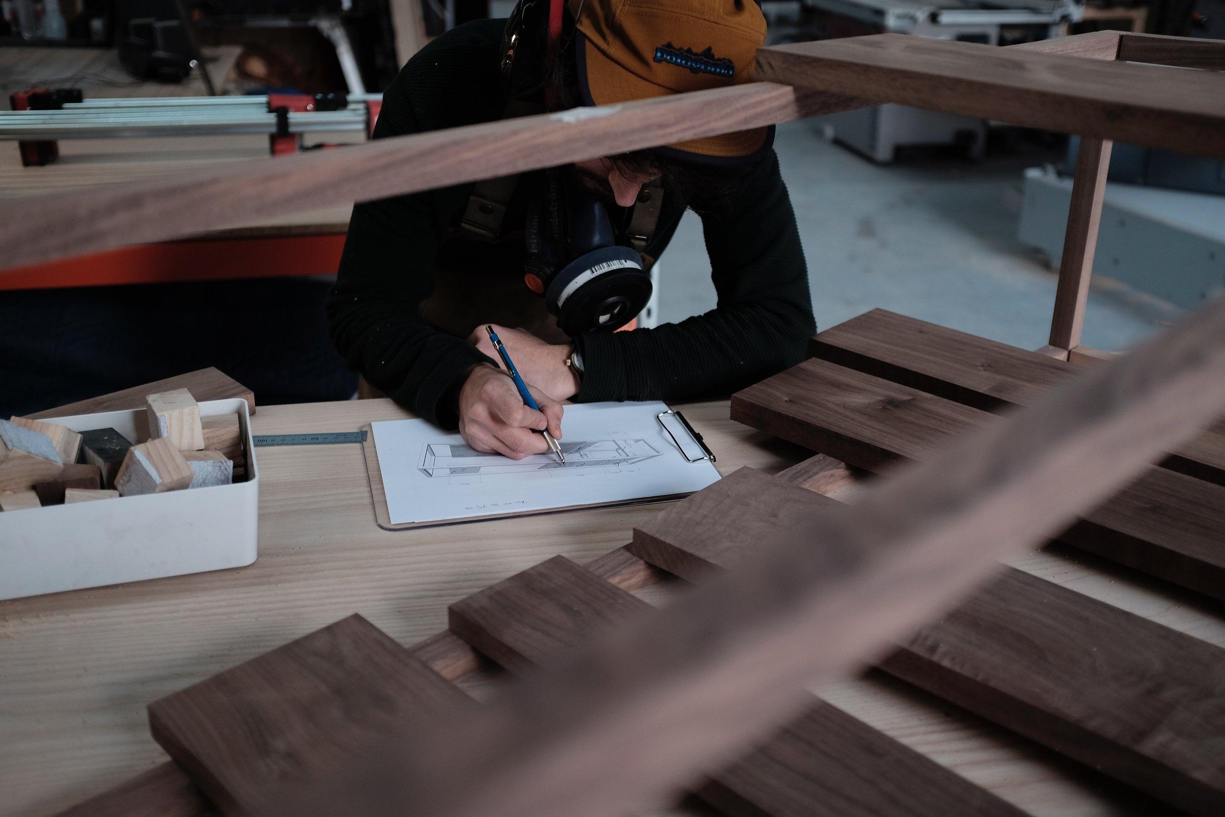 Image: Furniture designer/maker,  Thomas Lentini  in his studio, 2018.