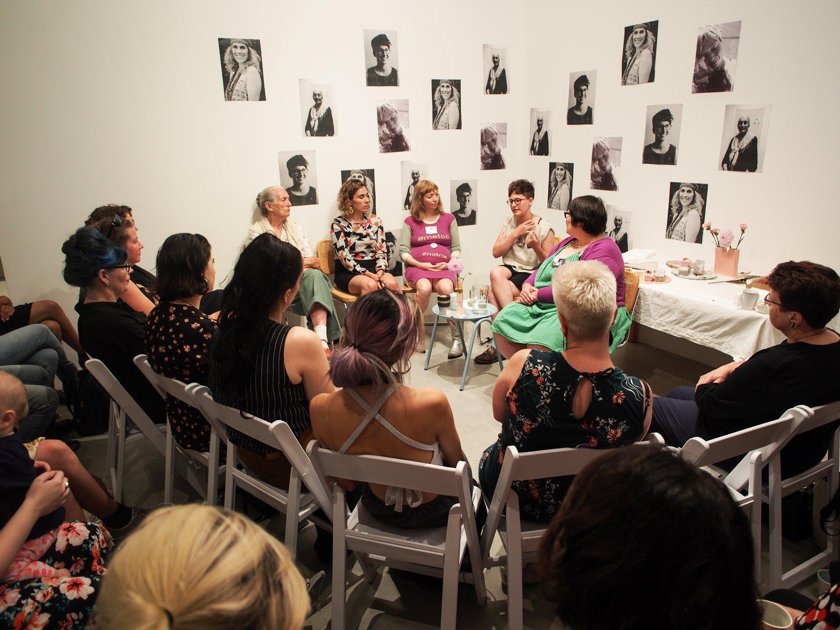 Craft Victoria, International Women's Day: Tea and Conversation, 2018. L - R, Jane Badger, Laura Thompson, Casey Jenkins, Anna Dunnill and Gemma Jones. Photography Eliza Tiernan