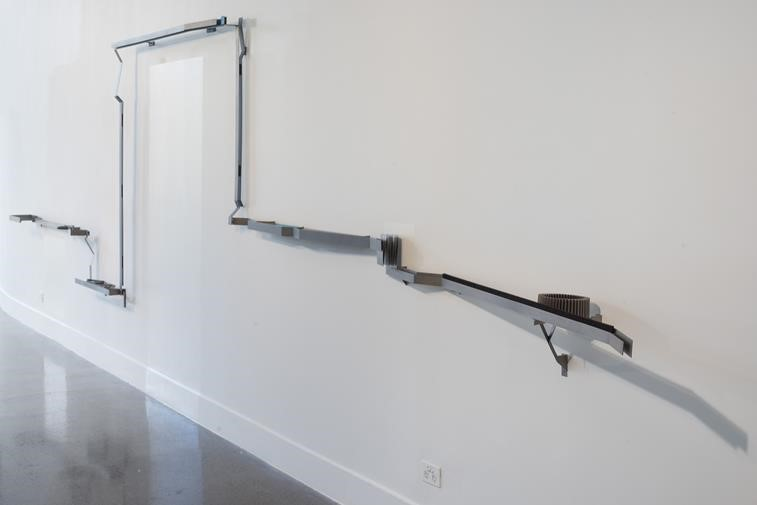 Mark Edgoose,  Domestic rail  2015, Titanium, niobium, steel, nylon, 1600 x 4500 x 480mm. Image courtesy the artist.