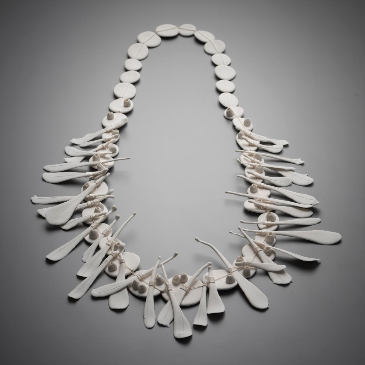 Alice Wish,  Crossing the Shoreline , 2018, porcelain, silk thread.