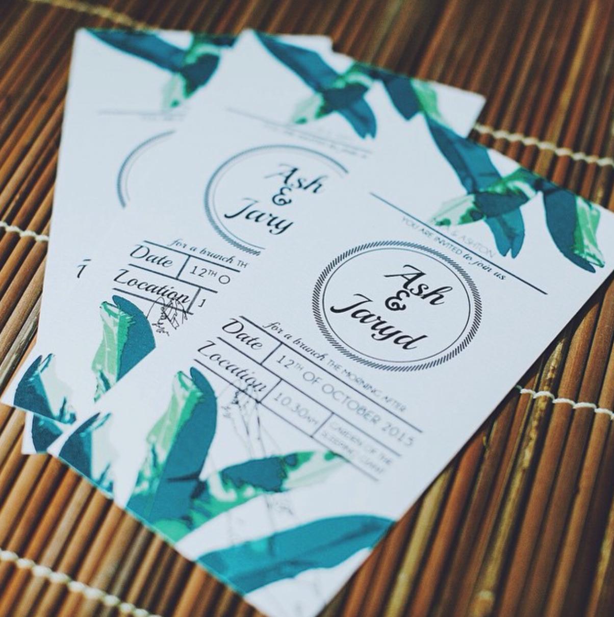 JUNGLE LEAF WEDDING INVITATION