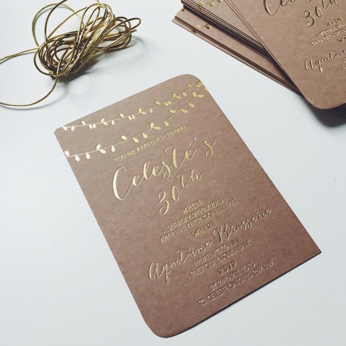 GOLD FOIL + KRAFT CARD INVITATION