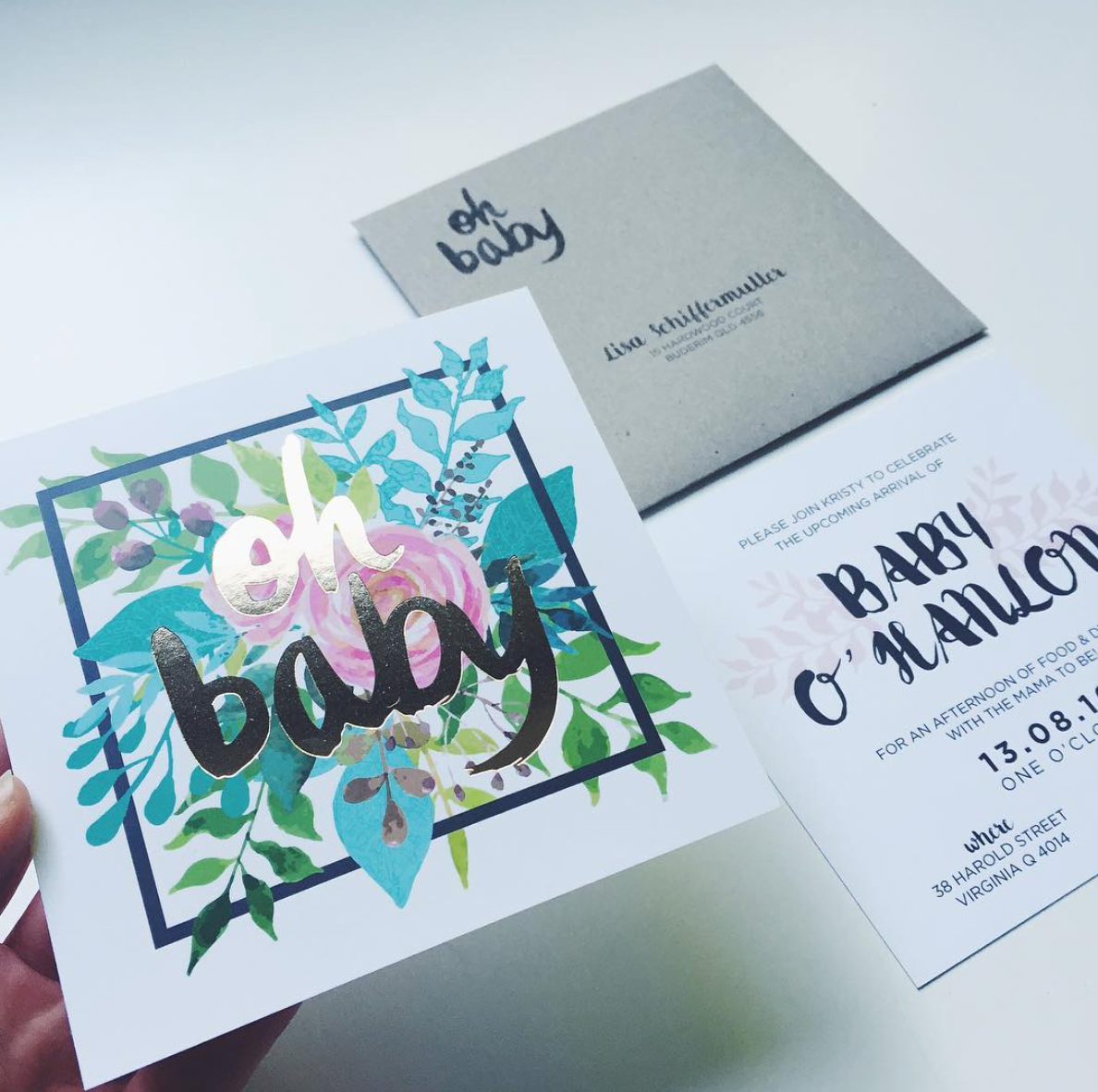 'OH BABY' GOLD FOIL + FLORAL INVITATION