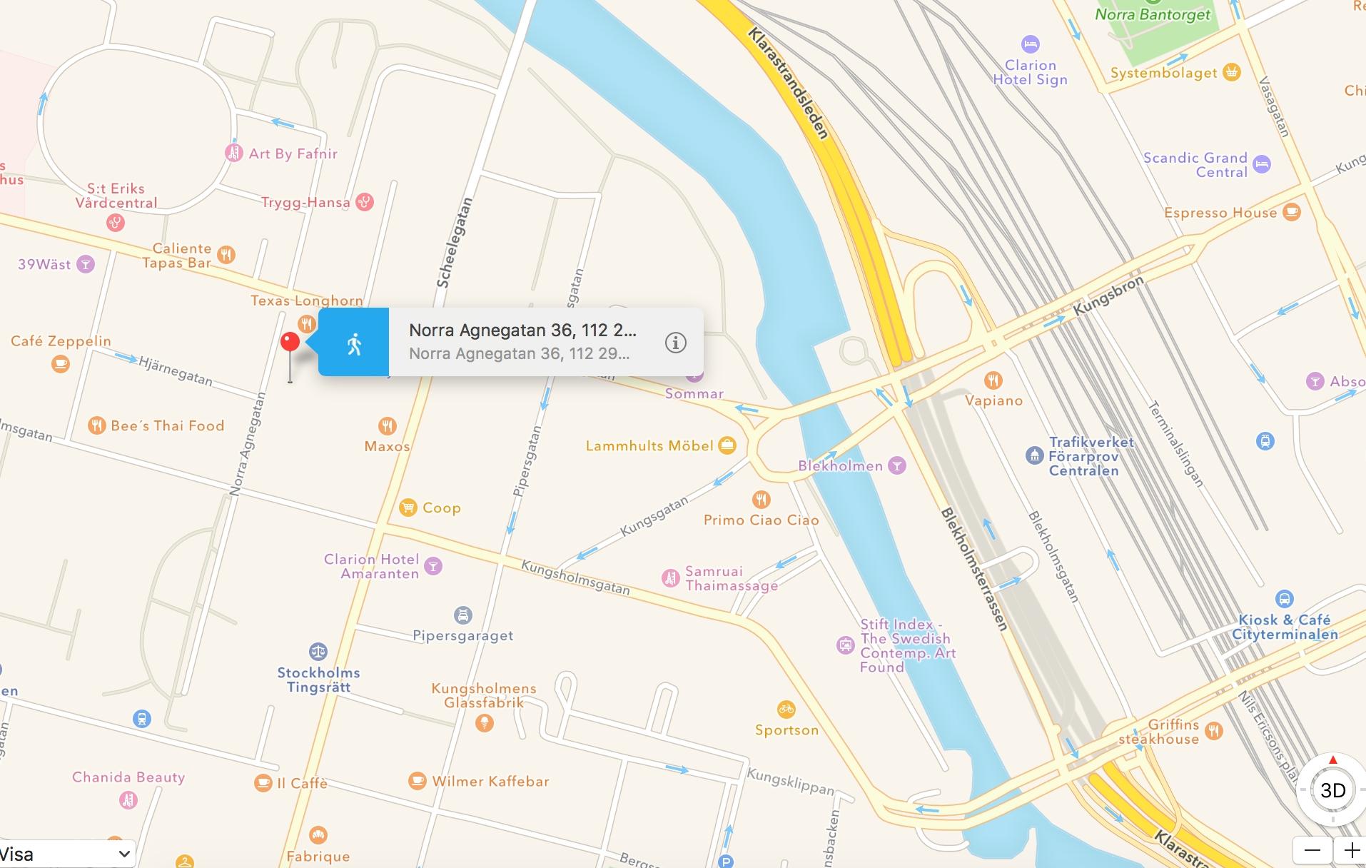 Skärmdump från Kartor