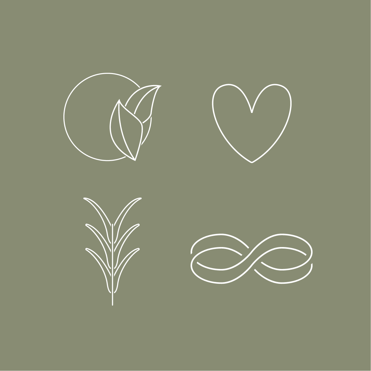 The icons were created to showcase their values which include: Ethical, Natural, Longevity and Conscious Hearts - which is essentially their ethos. - They offer sustainable products that are designed so consumers have confidence that they are treading lightly on the earth.