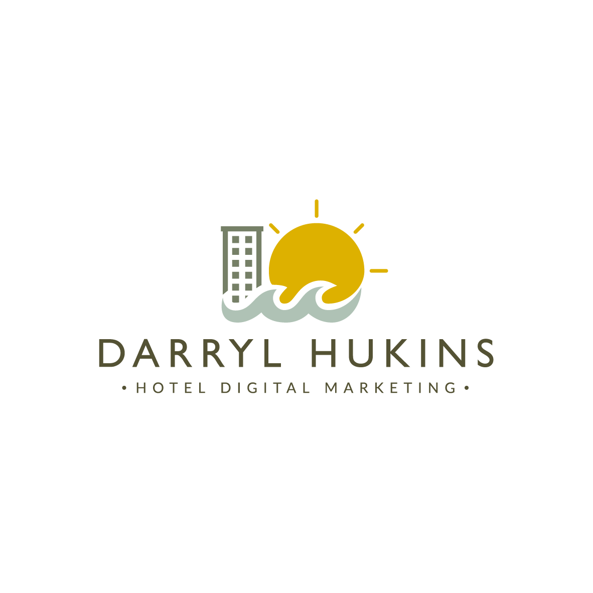Logo Design for hotel digital marketing consultant - Darryl Hukins. - Based on the Sunshine Coast, Darryl needed a clean, contemporary logo that had a tropical flavour to be utilized in the Australian and Asian market.