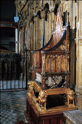 The Stone of Destiny beneath the Coronation Chair in Westminster Abbey.