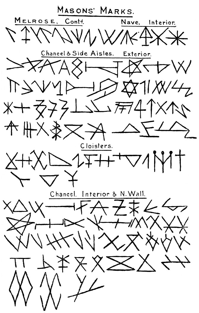 Mason's Marks from Melrose Cathedral.