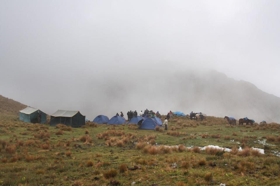 We set up camp at 12/500 feet but the summit of Inca Wasi was covered with clouds.