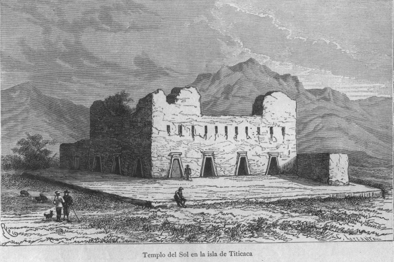 Colonial sketch of the Temple del Sol, on the Isle del Sol