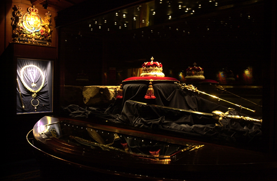 The Stone of Destiny on Display in Edinburgh Castle with the Crown Jewels of Scotland.