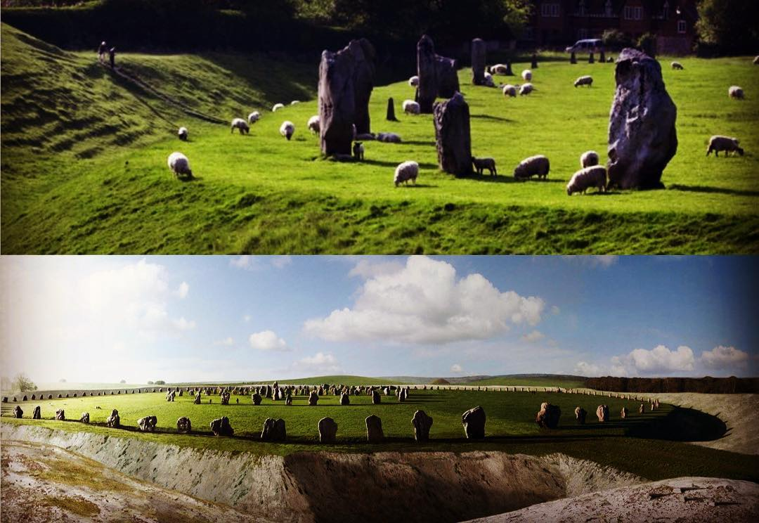 Reconstruction of Avebury Stone Circle, Wiltshire, England.