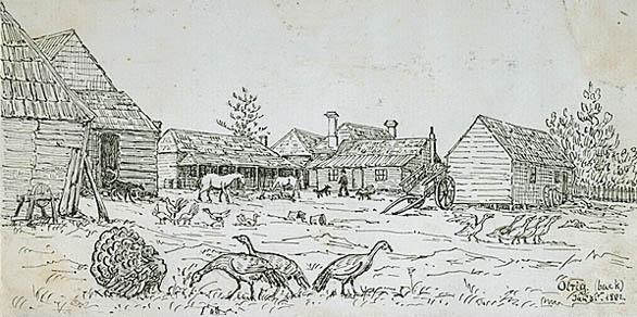 A drawing of a homestead on the hill of Olrig in 1851 by H J, Graham, currently on display at theat the National Library of Australia. This is something like the Windy Ha' may have looked like.