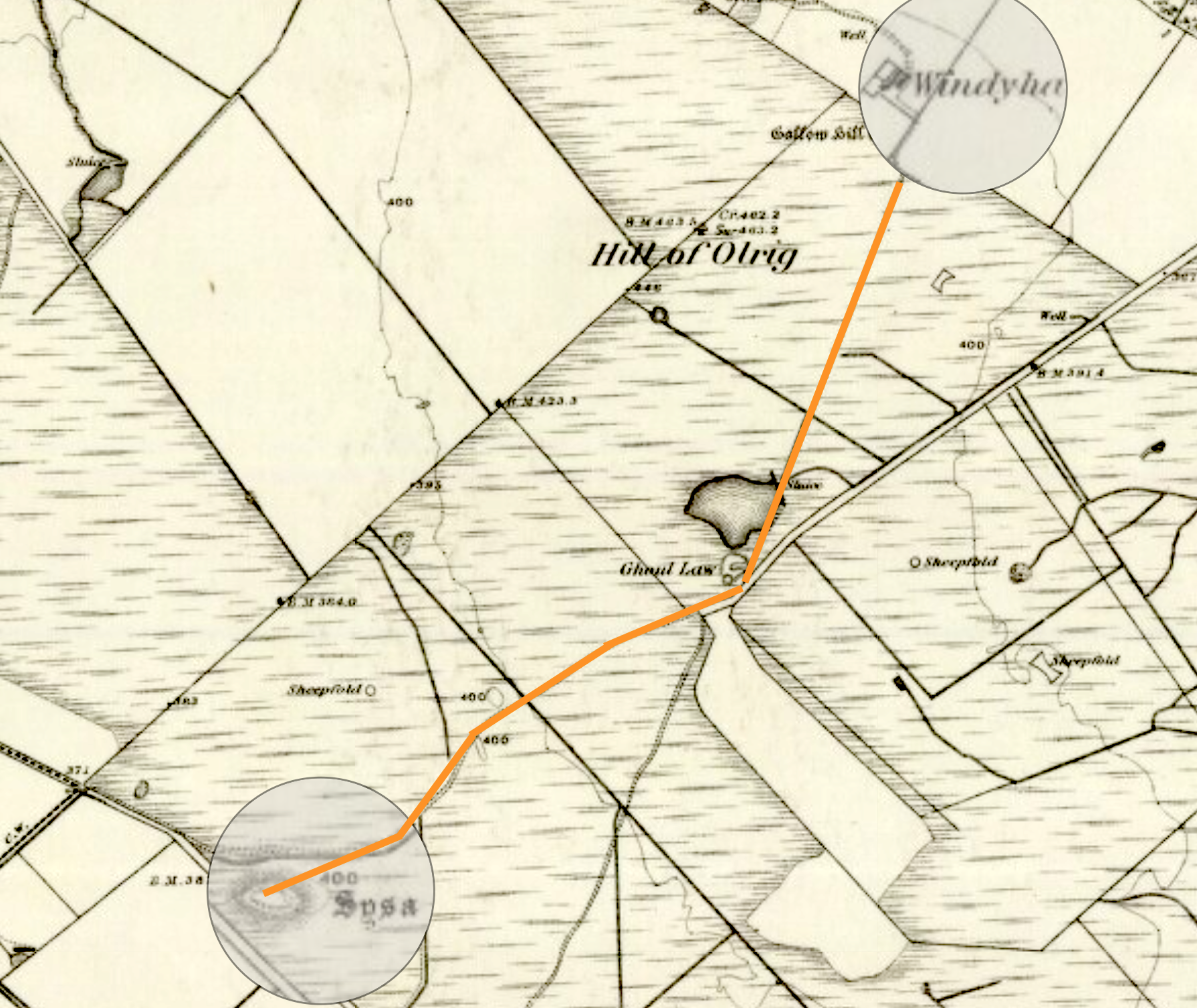 The orange line follows the old hill road which Peter walked from his farm house, Windy Ha', to Sysa Hillock.