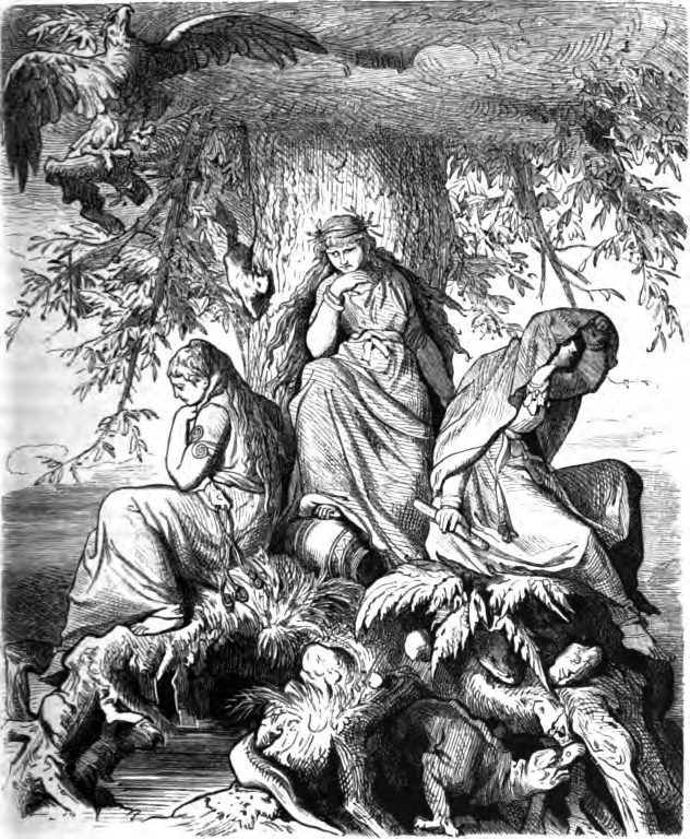 The Norns Urd, Verdandi, and Skuld under the World-tree Yggdrasil, by Ludwig Burger, 1882.