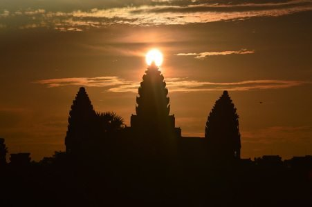 Equinox sunrise standing at the west gate at Angkor Wat.